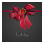 Vintage Red Bow Black All Occasion Party 5.25x5.25 Square Paper Invitation Card