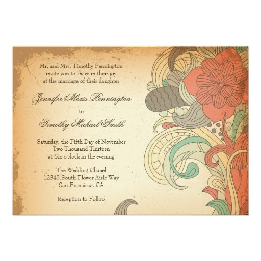 Vintage red brown floral swirls wedding invitation