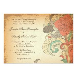 Vintage red brown floral swirls wedding invitation 5