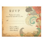 Vintage red brown floral swirls wedding RSVP card Personalized Invitation