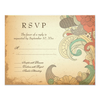 Vintage red brown floral swirls wedding RSVP card Personalized Invitation