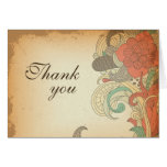 Vintage red brown floral wedding thank you card
