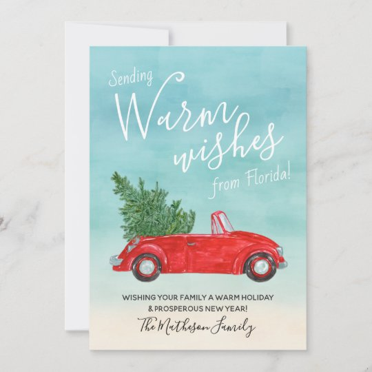 Vintage Red Car Christmas Tropical Warm Wishes Holiday Card