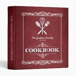 Vintage Red Chalkboard Family Cookbook Binder