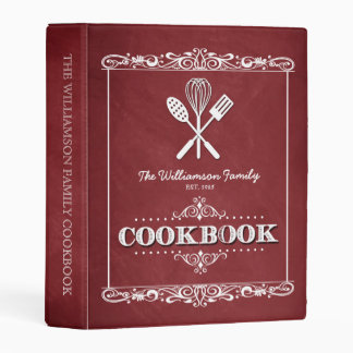 Vintage Red Chalkboard Family Cookbook Mini Binder