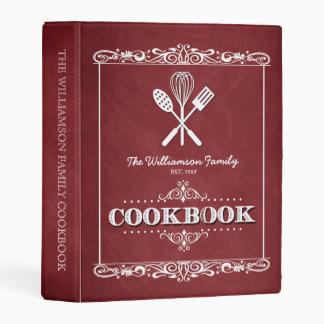 Vintage Red Chalkboard Family Cookbook Mini Binder