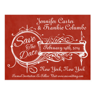 Vintage Red Chalkboard Save The Date Postcard