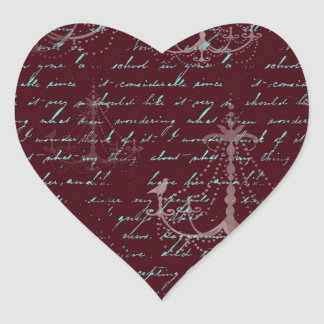 vintage red chandelier vintage writing heart sticker