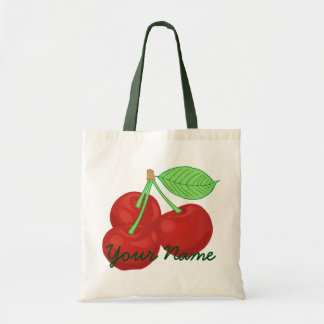 Vintage Red Cherries Cherry Cluster Personalized Tote Bag