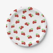Vintage Red Cherries Cherry Pattern Paper Plate
