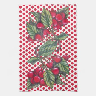 Vintage Red Cherry Polka Dot Fruit Pattern Cute Kitchen Towel