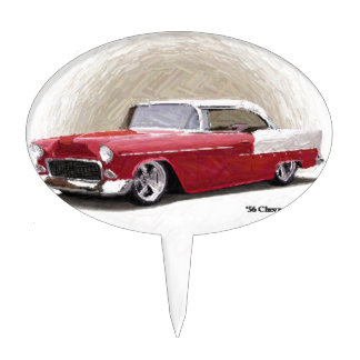Vintage Red Chevy Coupe Cake Topper