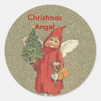 Vintage Red Christmas Angel Tree Round Sticker