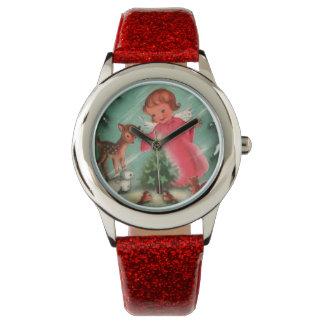 Vintage Red Christmas Kids Watch