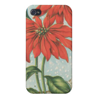 Vintage Red Christmas Poinsettias iPhone 4/4S Cover