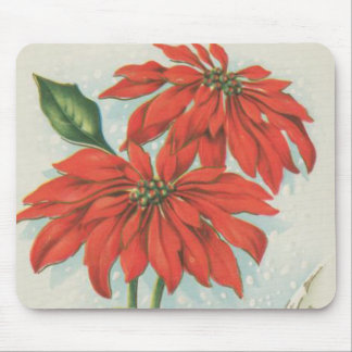 Vintage Red Christmas Poinsettias Mouse Pad