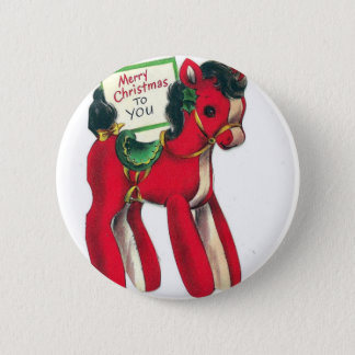 Vintage Red Christmas Pony Button