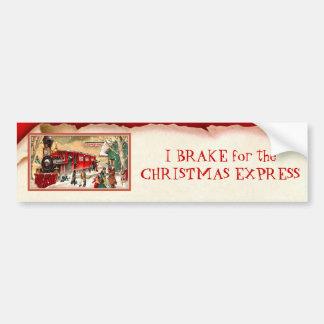 Vintage Red Christmas Train Car Bumper Sticker