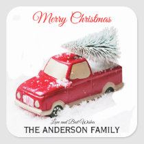 Vintage Red Christmas Tree Truck Square Sticker