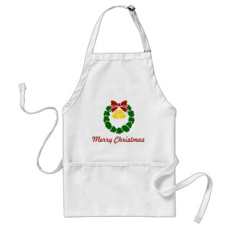 Vintage Red Christmas Wreath with Ribbon and Bells Adult Apron