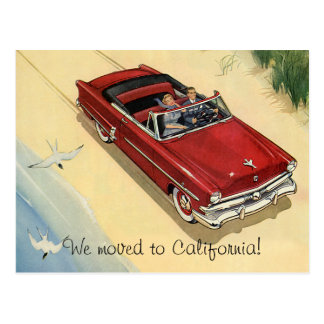 Vintage Red Convertible Car, Change of Address Postcard
