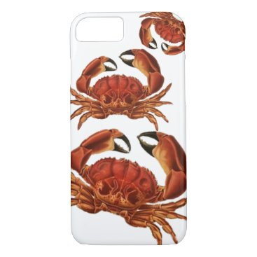 Beach Themed Vintage Red Crabs Crustacean Shellfish Pinchers iPhone 7 Case