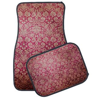Vintage Red Cream Grunge Floral Damask Pattern Car Floor Mat
