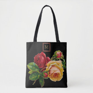 Vintage Red & Cream Rose with Monogram Tote Bag