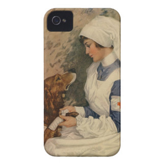 Vintage Red Cross Nurse with Golden Retriever Case-Mate iPhone 4 Cases