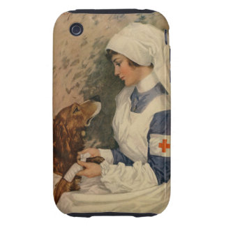 Vintage Red Cross Nurse with Golden Retriever iPhone 3 Tough Cover