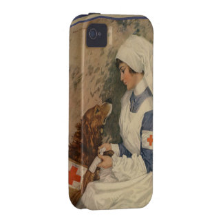 Vintage Red Cross Nurse with Golden Retriever Vibe iPhone 4 Cases