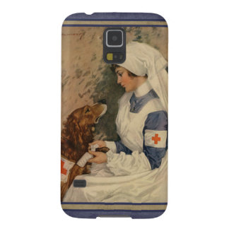 Vintage Red Cross Nurse with Golden Retriever Galaxy S5 Cover