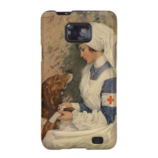 Vintage Red Cross Nurse with Golden Retriever Samsung Galaxy S2 Covers