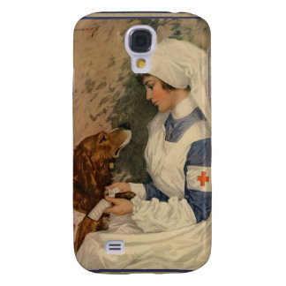 Vintage Red Cross Nurse with Golden Retriever Galaxy S4 Cover