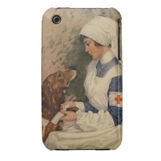 Vintage Red Cross Nurse with Golden Retriever Case-Mate iPhone 3 Case