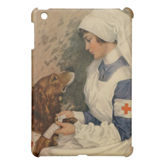 Vintage Red Cross Nurse with Golden Retriever iPad Mini Cover