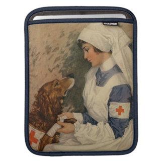 Vintage Red Cross Nurse with Golden Retriever iPad Sleeve