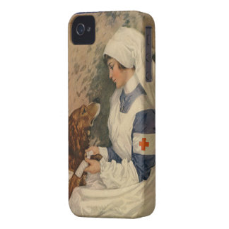 Vintage Red Cross Nurse with Golden Retriever iPhone 4 Cover