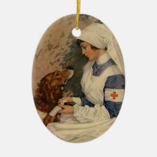 Vintage Red Cross Nurse with Golden Retriever Double-Sided Oval Ceramic Christmas Ornament