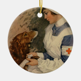 Vintage Red Cross Nurse with Golden Retriever Pet Double-Sided Ceramic Round Christmas Ornament