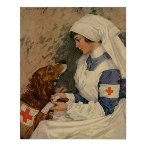 Vintage Red Cross Nurse with Golden Retriever Poster