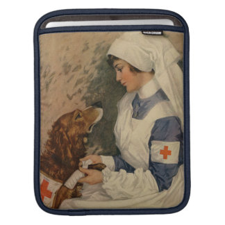 Vintage Red Cross Nurse with Golden Retriever Sleeve For iPads