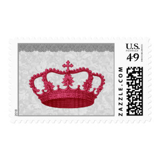 Vintage Red Crown and Lace V01 Stamp