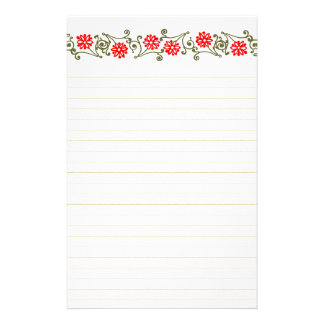 Vintage Red Daisy And Gold Curls Lined Stationery  Lined Stationary Paper