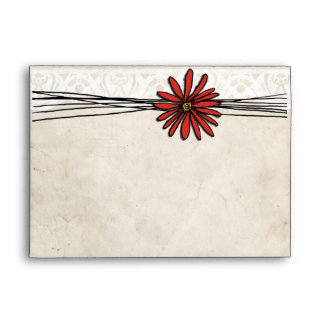 Vintage Red Daisy Envelope