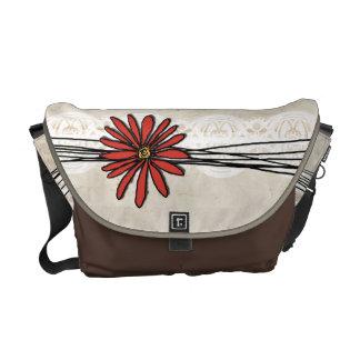 Vintage Red Daisy Messenger Bag