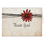 Vintage Red Daisy Thank You Greeting Card