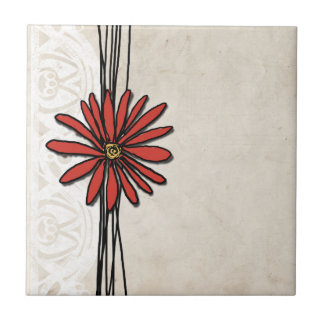 Vintage Red Daisy Small Square Tile