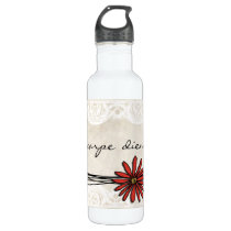 Vintage Red Daisy Water Bottle
