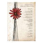 Vintage Red Daisy Wedding Program Custom Announcements